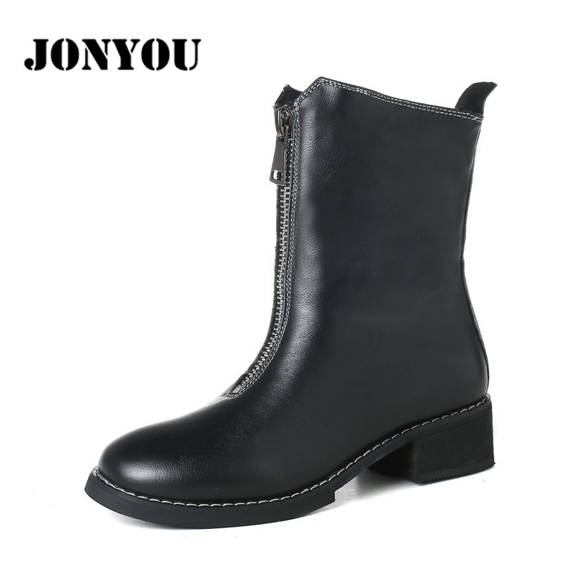 Soft Genuine Leather Spring And Autumn Martin Boots Medium Hells Shoes Women Zipper Platform Party Boots Solid Round Toe Fashion