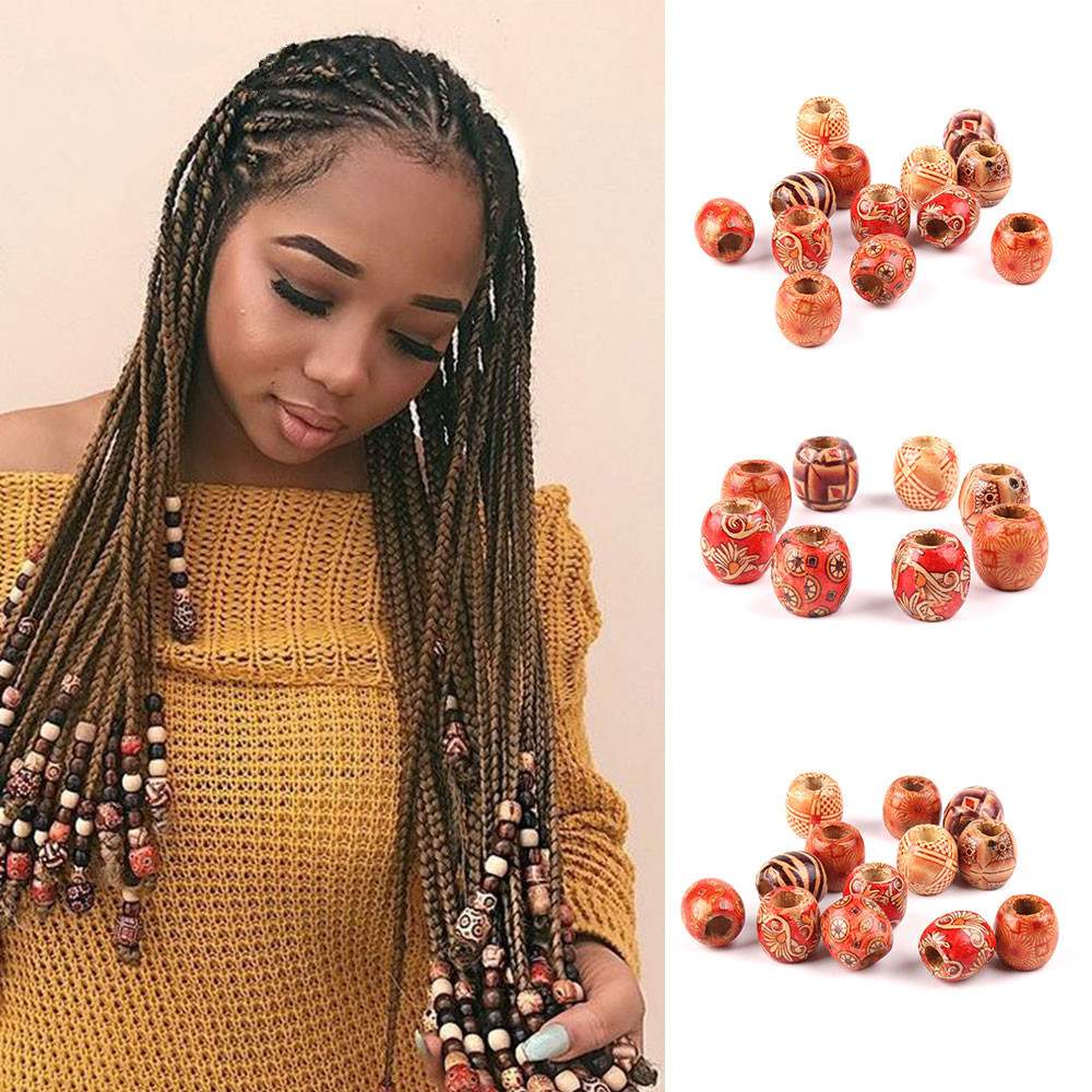 Braid Wig Jewelry Beads-Decorations Hair-Accessories Dreadlock-Beads Reggae Wooden Afro