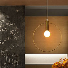 Modern Pendant Light For Lobby Dining Room single ring Arts Decoration lighting Antique Gold suspension Pendant Lamp E14 lights