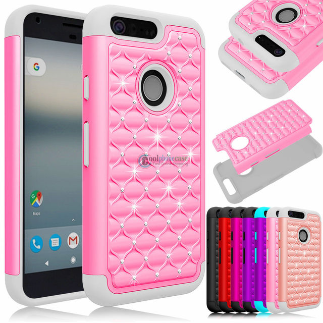 buy popular 38f2f 7debf US $2.99 40% OFF|Hybrid Armor Rubber Phone Case for Google Pixel 2 XL Cover  2 in 1 Silicone Bling Case for Google Pixel XL Heavy Duty Back Cover-in ...