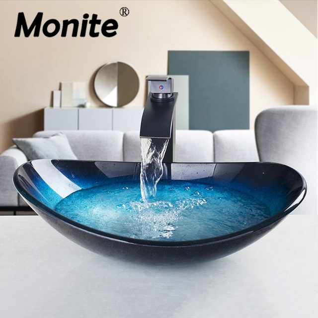 Blue Bathroom Unit Cloakroom Wash Basin Sink Bowl With ORB Waterfall Mixer  Faucet Tap Tempered Glass