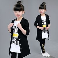 2018 Autumn Girls Fashion Jacket + T Shirt + Leggings Three Piece