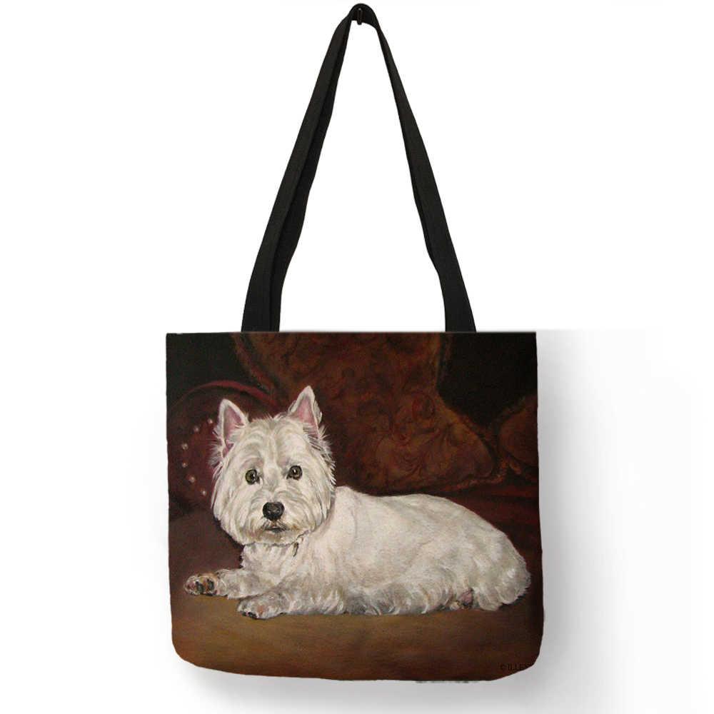 4ba6e138b55d Unique Design Westie Dog Painting Handbag for Women Shopping Travel Bags  Large Capacity Eco Linen Tote Bag Dropshipping