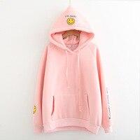 Kpophome النمط الكوري الطلاب فضفاض أنا okey ثخن الأزياء هودي المطرزة المتناثرة النساء sweatershirt