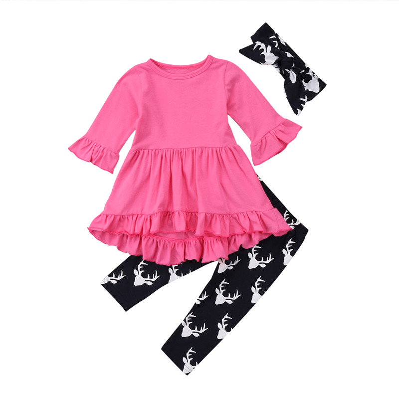 2018 New Autumn Winter Baby Girl Clothes Long Sleeve Dress Solid Ruffles Top Pant Trouser 3PCS Outfit Toddler Kids Clothing Set new kids baby girls clothes set heart shaped dress pant