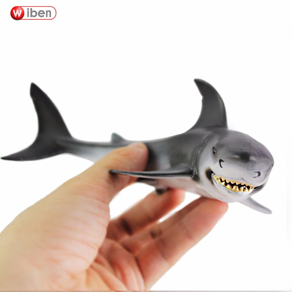 Wiben Sea Life Great White Shark Simulation Animal Model Action & Toy Figures Learning & Educational White Shark Gift for Kids hot toys great white shark simulation model marine animals sea animal kids gift educational props carcharodon carcharias jaws