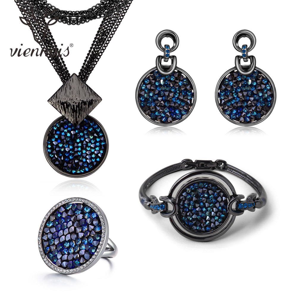 Viennois New Blue Crystal Fashion Rhinestone Pendant Earrings Ring Bracelet and Long Necklace Sets For Women Jewelry Sets a suit of vintage rhinestone artificial crystal necklace ring and earrings for women