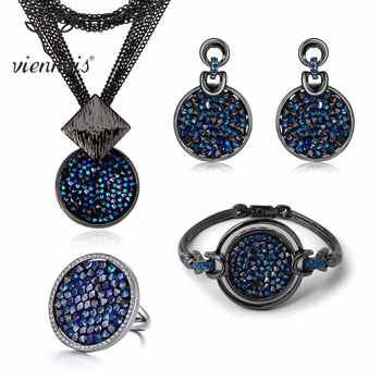 Viennois New Blue Crystal Fashion Rhinestone Pendant Earrings Ring Bracelet and Long Necklace Sets For Women Jewelry Sets - DISCOUNT ITEM  20% OFF All Category