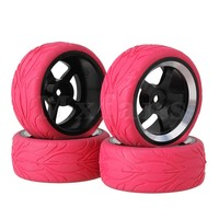 4 X RC1 10 On Road Car Red Fish Scale Rubber Tyre Black 5 Spoke Al