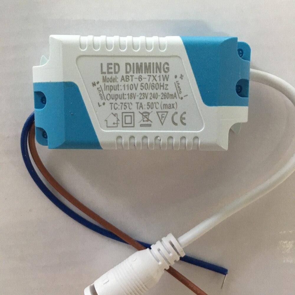 Controlador de atenuador 6-7x1W DC 18-23V 240-260ma 6W-7W corriente constante AC 110 / 220V para lámpara LED regulable/panel de luz