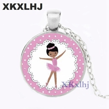 XKXLHJ New Ballerina Girl Necklace Handmade Glass Cabochon Dancing Chain Pendant for Women
