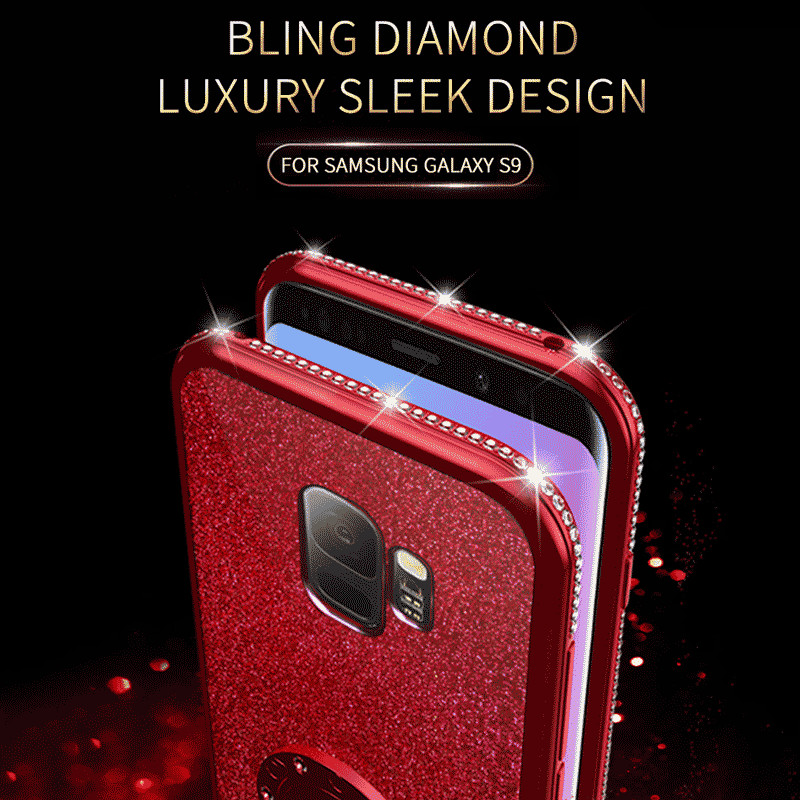 For Samsung Galaxy S9 Case Cover 360 Degree Kickstand Cover for Samsung 9Puls diamond painting Bling Glitter Soft girl Cute Case