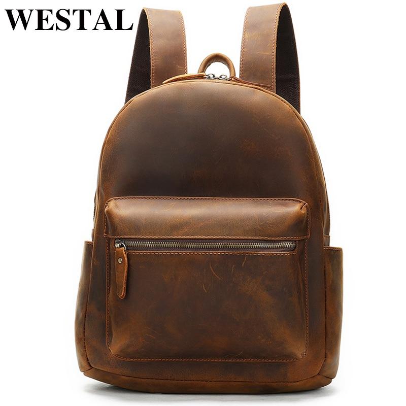WESTAL crazy horse leather backpack for men laptop backpack bussiness schoolbag Multi function daypack simple shoulder