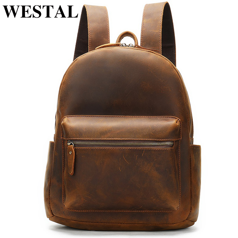 WESTAL Crazy Horse Leather Backpack For Men Laptop Backpack Bussiness Schoolbag Multi-function Daypack Simple Shoulder Bag 2315