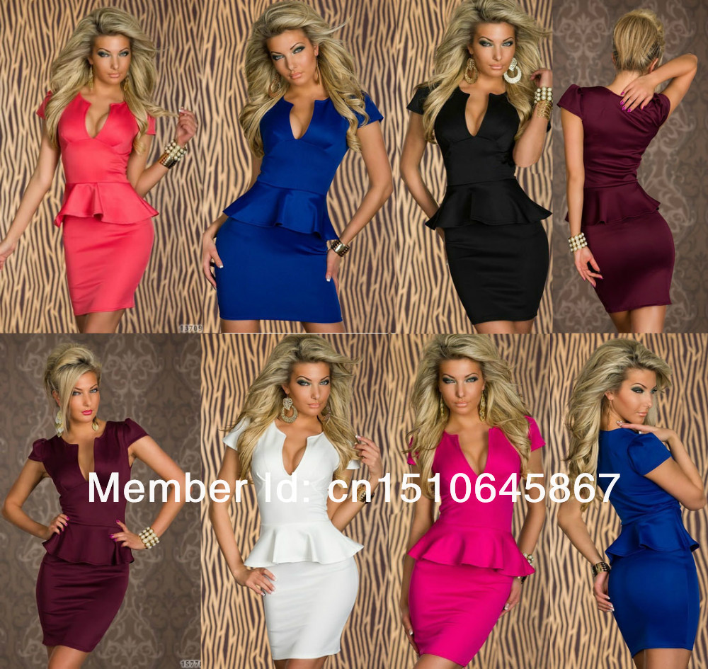 Plus Size Sexy Pencil Formal Office Dress Lady Business Work Dress