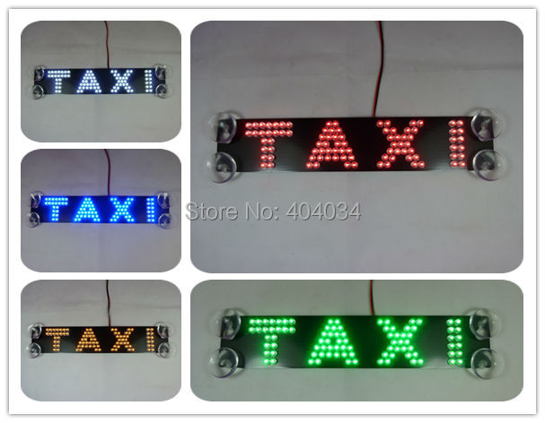 Taxi front windshield glass lamp taxi third brake light additional brake lights led refit car light double row in Car Light Assembly from Automobiles Motorcycles