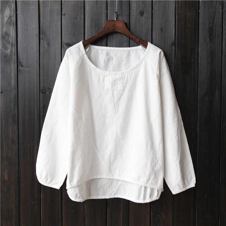 Vintage מורי הכותנה פשתן חולצה הלבן צבע סולידי נשים אביב ילדה מורי טוניקת חולצות חולצות חולצות מעילי בגדי סוודרים למעלה חולצה