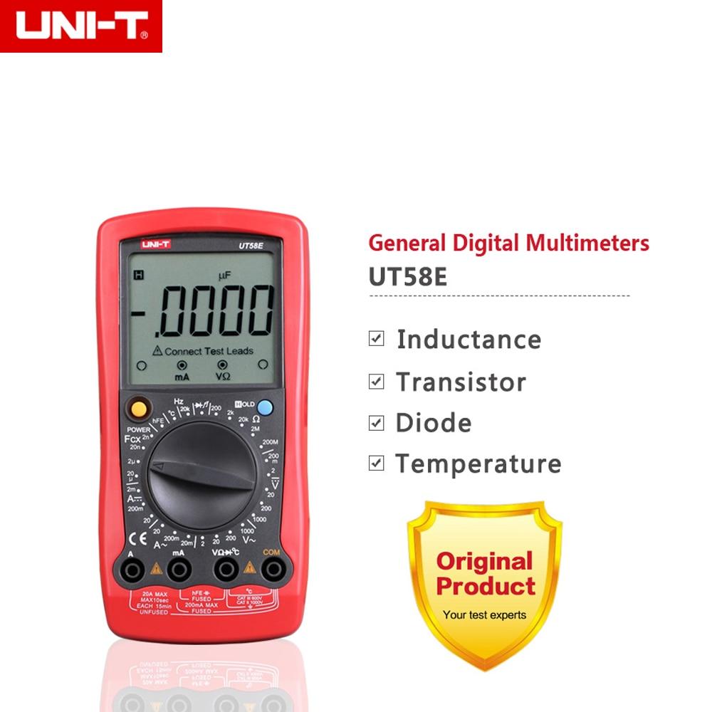 UNI-T UT58E 4 1/2 Digital Multimeters range w/ frequency temperature test ammeter Multitester 1 pcs mastech ms8269 digital auto ranging multimeter dmm test capacitance frequency worldwide store