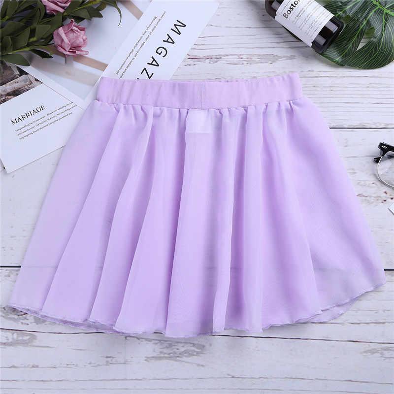 Crianças Meninas Vestido de Ballet Bailarina Dança Vestido de Ginástica Leotard para Meninas Dancer Clássico Básico Chiffon Mini Pull-On Envoltório saia