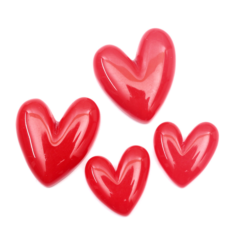 LF 20Pcs Red Resin Heart Decoration Crafts Flatback Cabochon Embellishments For Scrapbooking Kawaii Cute Diy Accessories
