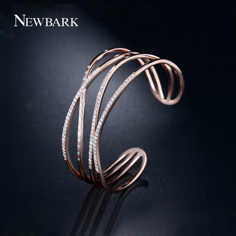 NEWBARK Fashion Hollow X Shape Cross Love Bracelets & Bangles Wide Opened Geometric Cuff Bangles For Women Statement Jewelry
