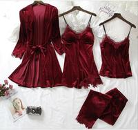 Satin Sleepwear Female with Chest Pads Sexy Women Pajamas Lace Slik Sleep Lounge 4 Pieces Sets Elegant Ladies Indoor Clothing
