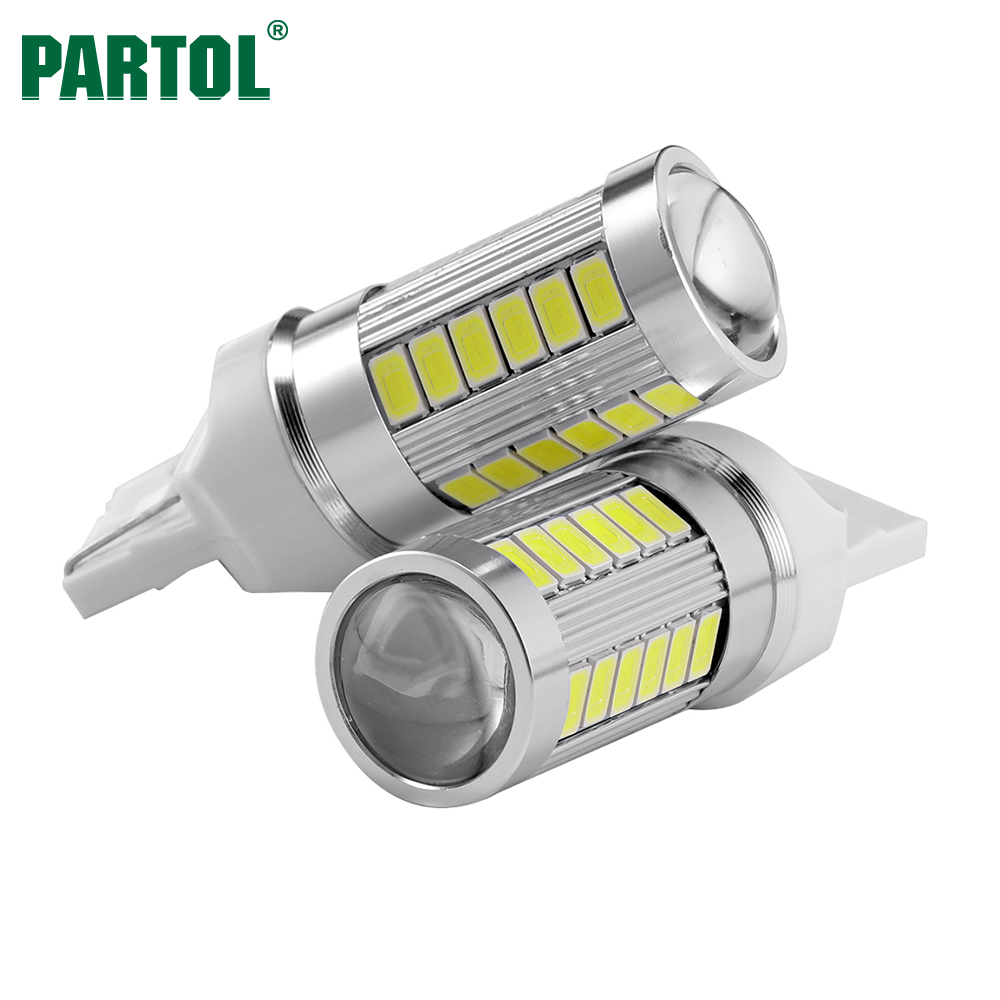 Partol 2 x T20 7440 W21W LED Light Bulbs Super Bright Automobile Turn Side Lamp Car Reverse Lamp White Turn Signals Light Source 2x 7 5w led white t20 7743 super bright car back up reverse tail light bulbs lamp