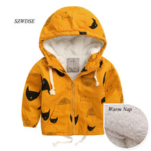 2017 Children's Autumn Winter warm hoodies clothing kids pizex windproof tops boy/girls windbreaker thick clothes for 2-8 years