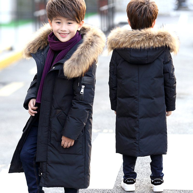 6-14Y Children's Down Jacket Big Fur Collar Long Thick Teen Boys Winter Coat Duck Down Kids Winter Jackets for Boy Outerwear new 2017 winter boy down jacket thick warm boys downs coat kids down jacket for boys hooded collar children outerwear coat 3 14y