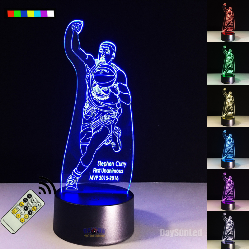 2017 Remote NBA 3D Lamp LED Night Light Color Changing Stephen Cury's Shooting 3D Illusion Night Lamp Table Desk Home Lighting