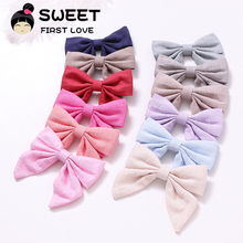 1pc Big Bow Hairpins Solid Fabric Hair clips 12 colors Big bow Barrettes For Girls Hair Accessories Bowknot Kids Headwear