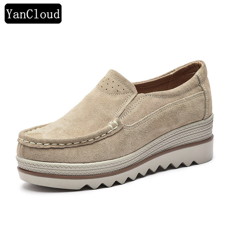 Quality Women Casual Shoes 2018 Cow Suede Flats Women's Platform Shoes Slip on Loafers Creepers Wedge Shoe Ladies Nude de la chance women fashion platform shoes genuine leather slip on casual shoes loafers flatform wedge shoes skate ladies shoes