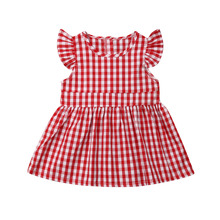 Summer Sister Matching Gingham Plaid Romper Party Dress Outfits