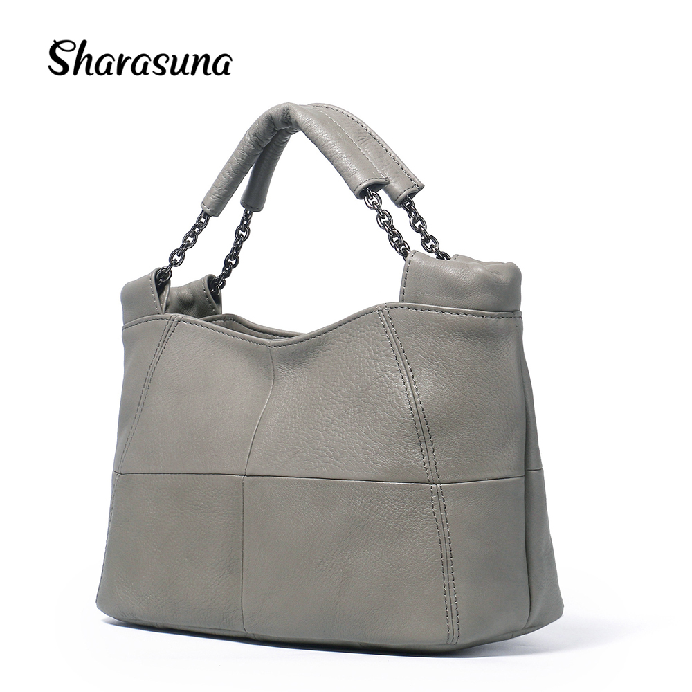 Sharasuna 2018 New Simple Casual Female Genuine Leather Bags Handbags Women Famous Brands Designer Women Messenger Bag Ruched