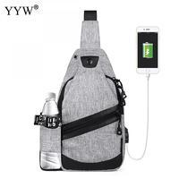Yyw lona USB diseño Sling bolso sólido bolsa pecho Cruz Cuerpo Bolsas Negro Azul bolsa