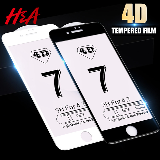 H&A 4D Curved 0.27mm Tempered Glass For iPhone 7 8 6 6s Plus Full Cover Screen Protector For iPhone 6 6s 7 Plus Protective Glass