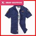 Dropshipping Da Força Aérea Uniforme Militar Magro Dos Homens Camisas de Algodão de Manga Curta Camisas Casual, gy404