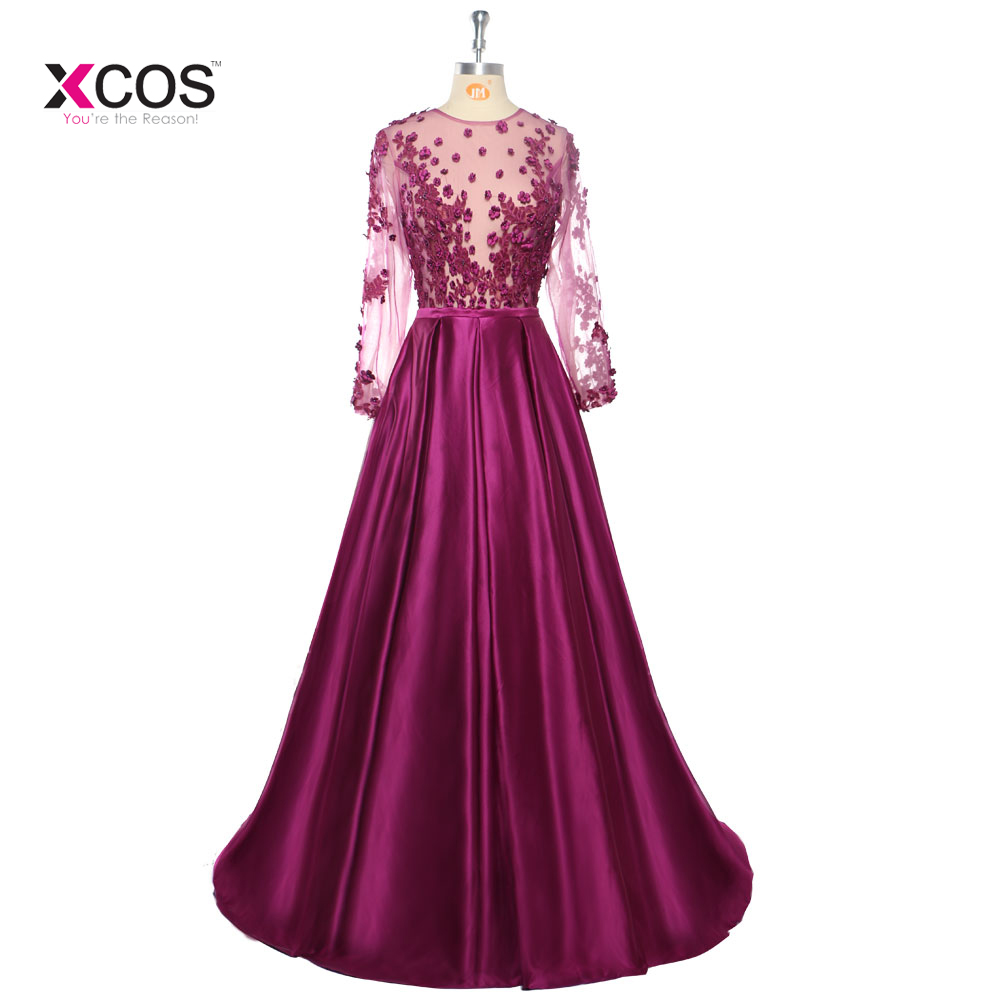 Fashion Purple Evening Dresses Long 2017 Sheer Long Sleeves Lace Applique A-line Floor Length Women Formal Gown Party Prom Dress
