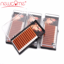 NEWCOME Light Brown Individual Eyelash Extension 100% Hand Made Brown Color Synthetic Lashes Natural Long Eye Lash Free Shipping