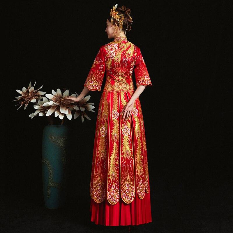 Rouge mariée cheongsam Vintage style chinois robe de soirée de mariage vêtements broderie Phoenix Qipao costume Vestidos taille S-XXXL - 5