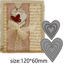 6 Pcs Hearts Metal Cutting Dies  Scrapbooking Album Decoration Embossing Paper Card Craft 120*60 mm