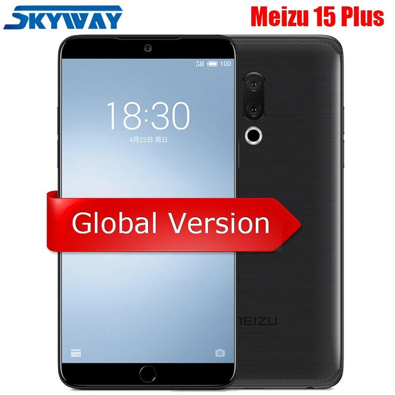 """Оригинал Meizu 15 плюс 4G LTE 6 ГБ Оперативная память 6 4G B ROm Exynos 8895 Octa Core 5,95 """"2560×1440 P отпечатков пальцев быстрое зарядное устройство сотовый телефон"""