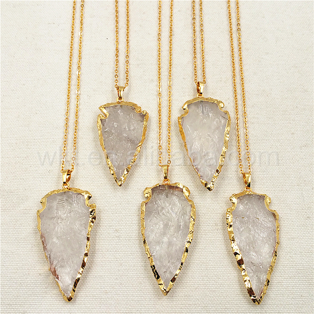 Wt n791 exclusive 2 big stone necklace natural stone arrowhead wt n791 exclusive 2 big stone necklace natural stone arrowhead pendant with 24k gold aloadofball Image collections