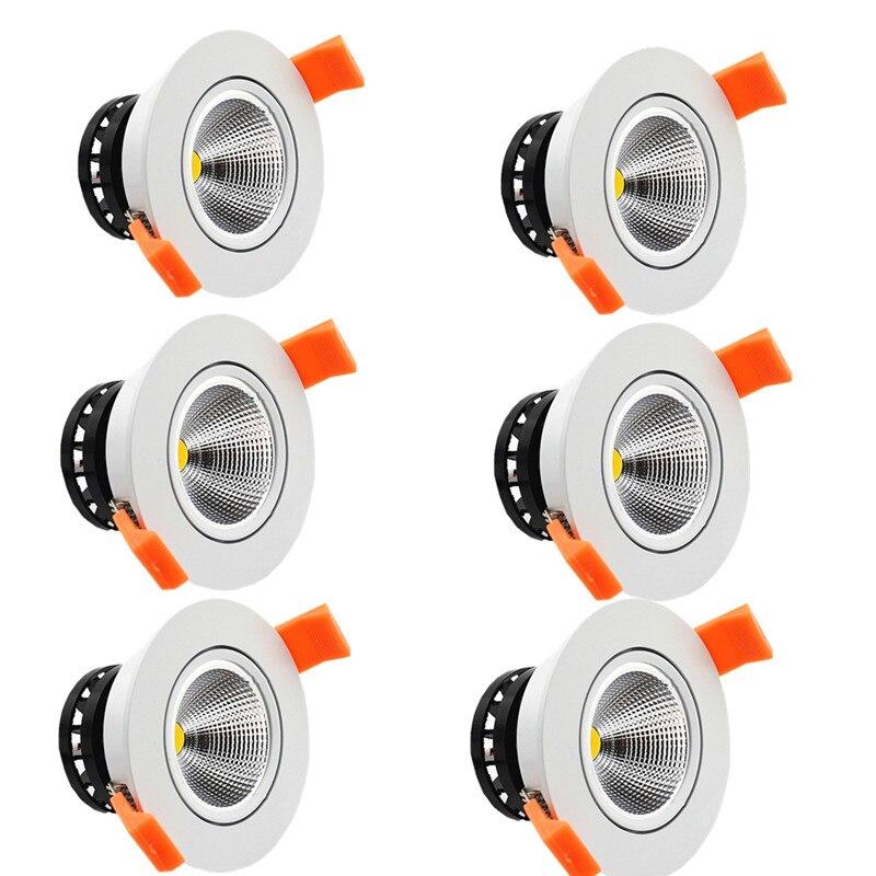 Pacote 6 5 W 7 W LEVOU downlights Recesso LEVOU luz de Teto Luzes Do Ponto regulável COB lâmpadas led transporte rápido luz conduzida da decoração