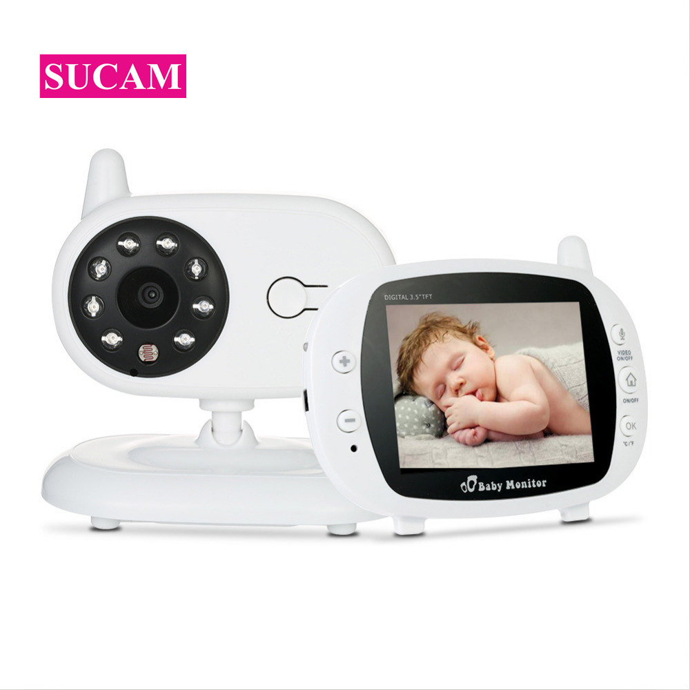 SUCAM 3.5inch LCD Wireless IP Baby Monitor Two Way Audio Talk Digital Infrared Night Vision Temperature Monitoring Security Cams
