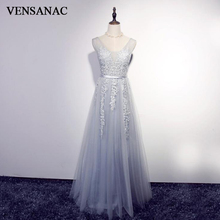 VENSANAC 2018 Sequined V Neck A Line Lace Appliques Long Evening Dresses Pearls Party Sash Backless Prom Gowns