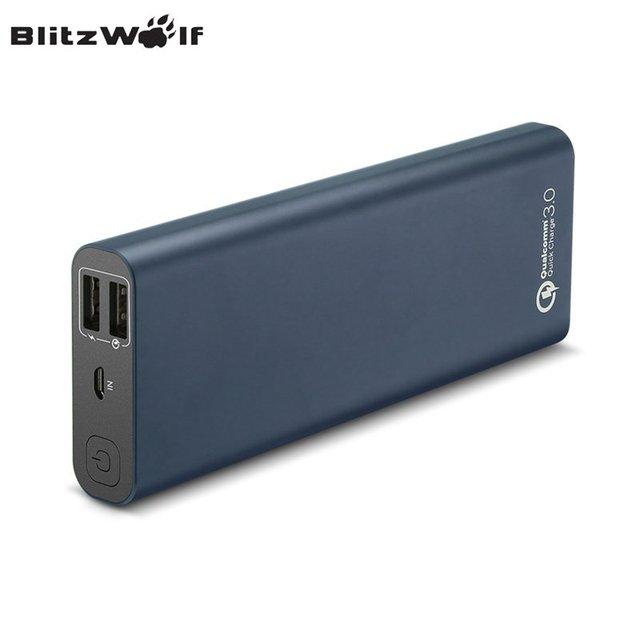 Blitzwolf qc3.0 bw-p5 15600 mah dual usb de carga rápida banco de la energía universal de carga rápida para el iphone para el teléfono de xiaomi powerbank
