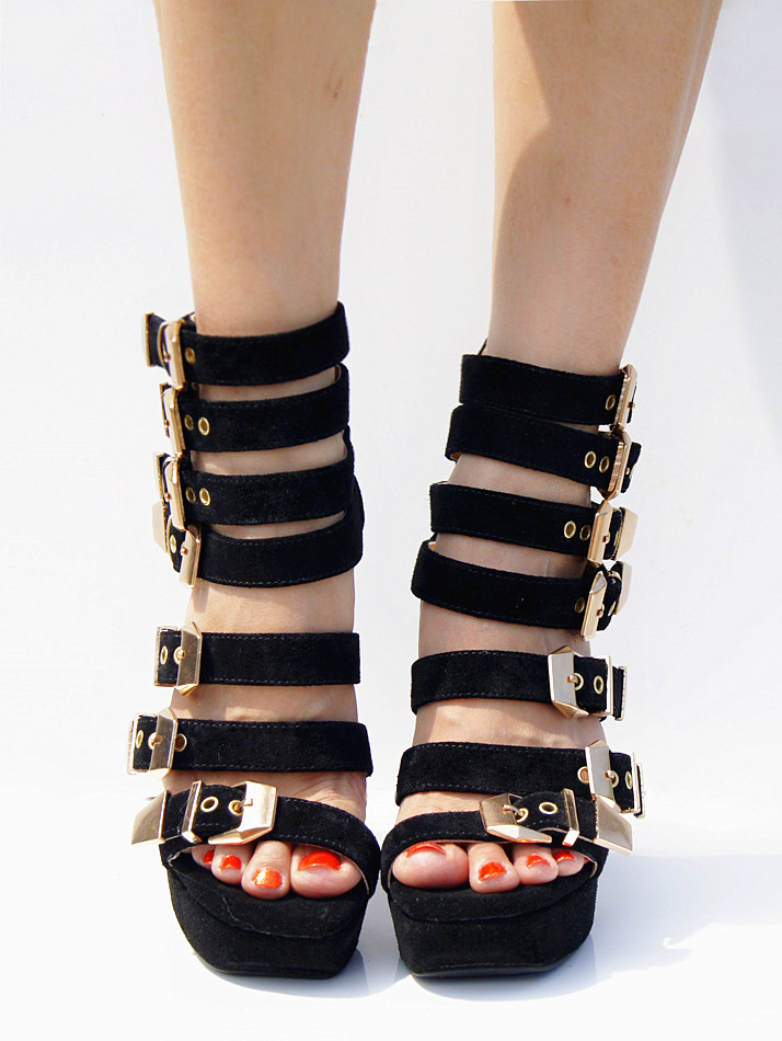 18c67c9cd046 High Quality Black Stripe Shoes Woman Platform Sandals Ankle Wrap Gladiator  Sandals Women Open Toe Chunky High Heel Summer Shoes-in Women s Sandals  from ...