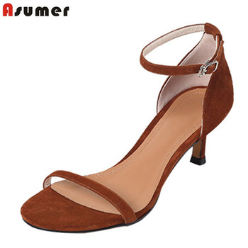 ASUMER 2020 fashion summer suede leather women sandals high heels shoes buckle restoring comfortable simple shoes woman