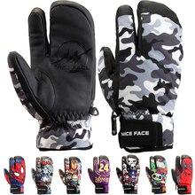Мужские/женские/Детские лыжные перчатки, рукавицы, зимние водонепроницаемые перчатки для сноуборда, теплые флисовые кожаные перчатки для снегохода, езды на мотоцикле, снежные перчатки